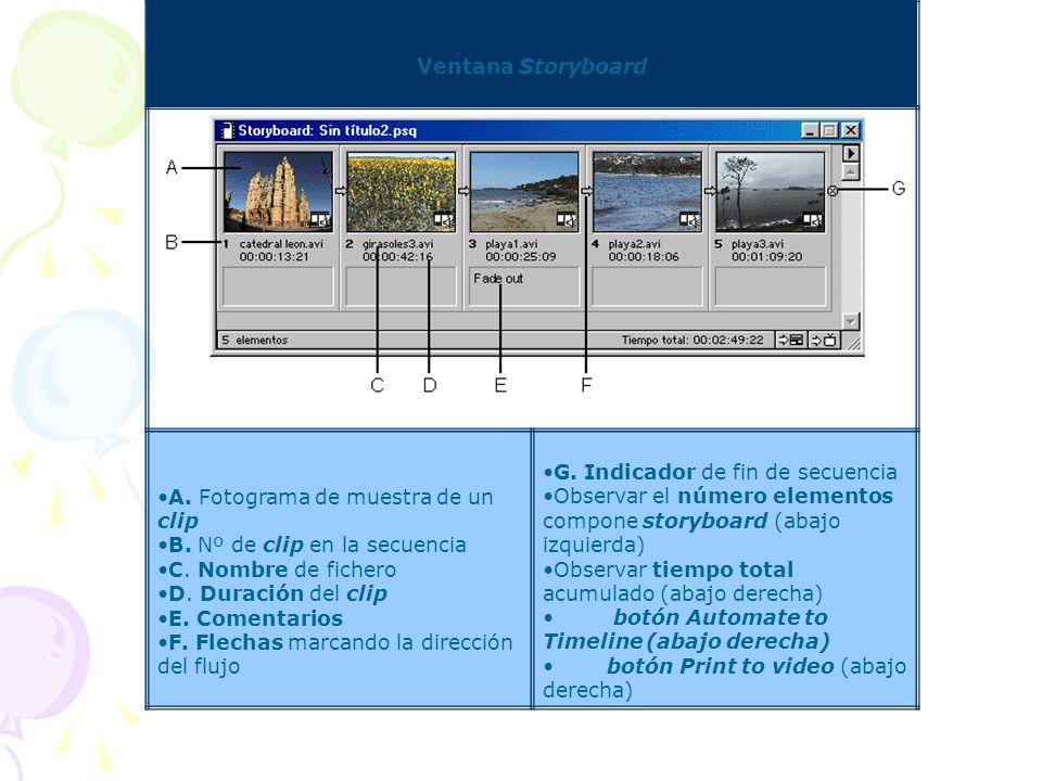 Story Board Para especificar y organizar las tomas de una filmación, se puede crear un storyboard: una colección de escenas (fotos fijas), con nombre,