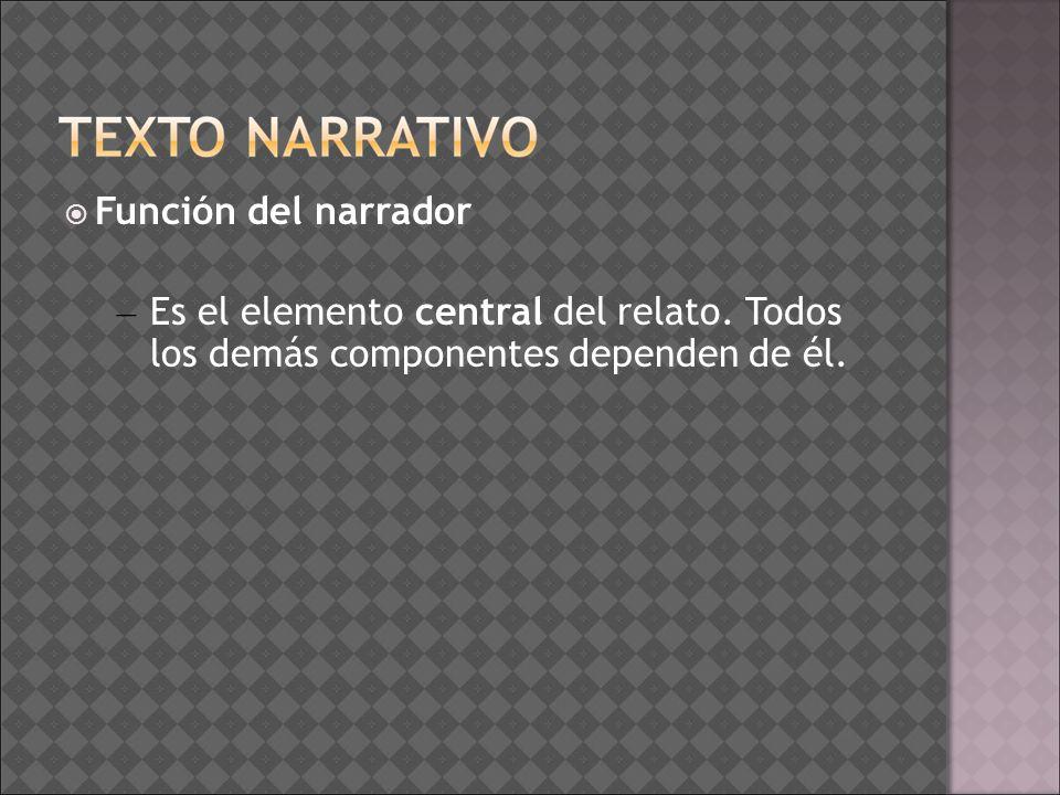 Función del narrador – Es el elemento central del relato. Todos los demás componentes dependen de él.
