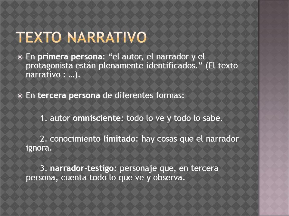 En primera persona: el autor, el narrador y el protagonista están plenamente identificados. (El texto narrativo : …). En tercera persona de diferentes