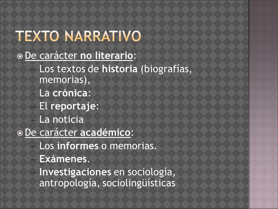 De carácter no literario: – Los textos de historia (biografías, memorias), – La crónica: – El reportaje: – La noticia De carácter académico: – Los inf