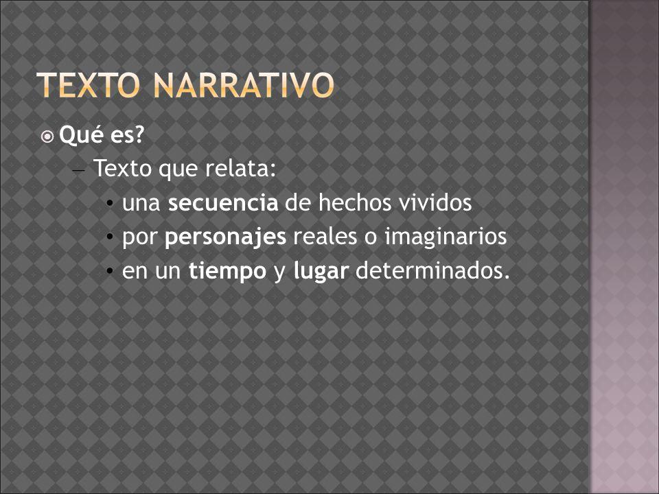 La narración es un tipo de texto en el que se cuenta una historia o un suceso; En toda narración encontramos los siguientes elementos: – Un narrador, quien relata cuanto sucede a – varios personajes en – un espacio y – un tiempo determinado.