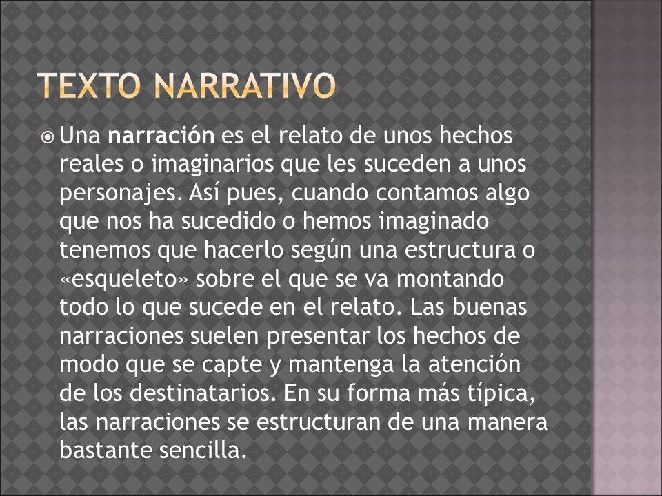 Una narración es el relato de unos hechos reales o imaginarios que les suceden a unos personajes. Así pues, cuando contamos algo que nos ha sucedido o