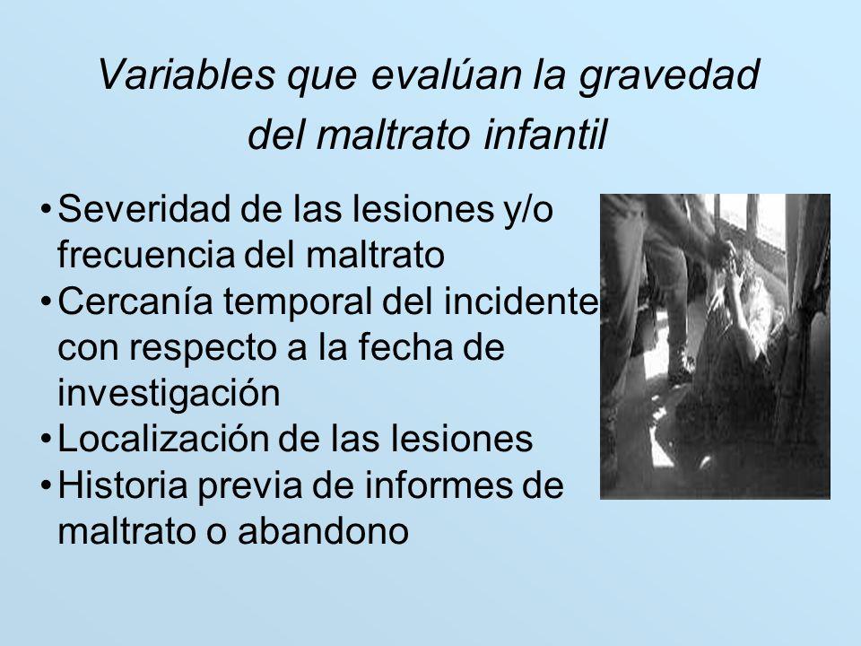 Variables que evalúan la gravedad del maltrato infantil Severidad de las lesiones y/o frecuencia del maltrato Cercanía temporal del incidente con resp
