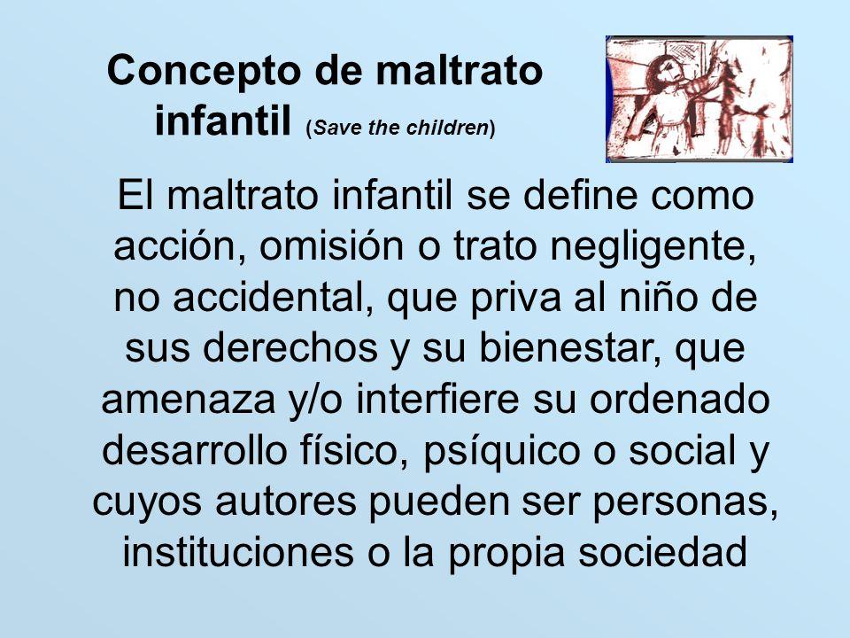 Concepto de maltrato infantil (Save the children) El maltrato infantil se define como acción, omisión o trato negligente, no accidental, que priva al
