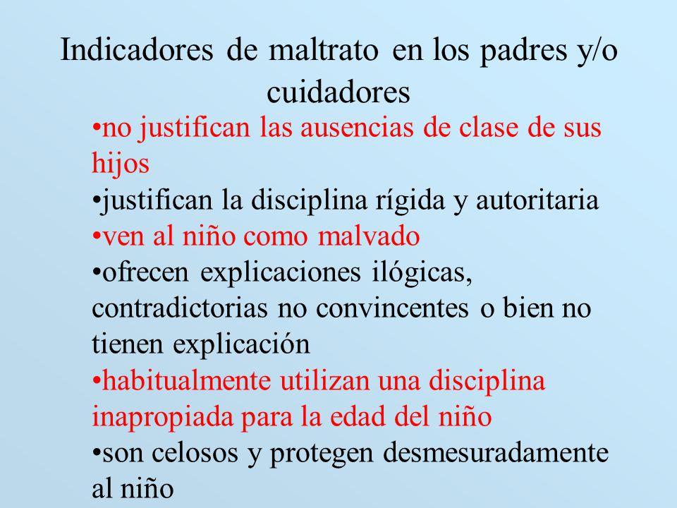 Indicadores de maltrato en los padres y/o cuidadores no justifican las ausencias de clase de sus hijos justifican la disciplina rígida y autoritaria v