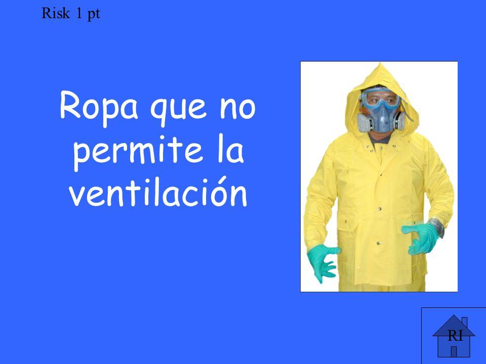 RI Risk 1 pt Ropa que no permite la ventilación