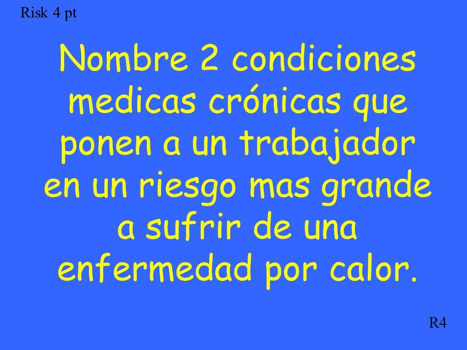Nombre 2 condiciones medicas crónicas que ponen a un trabajador en un riesgo mas grande a sufrir de una enfermedad por calor. Risk 4 pt R4