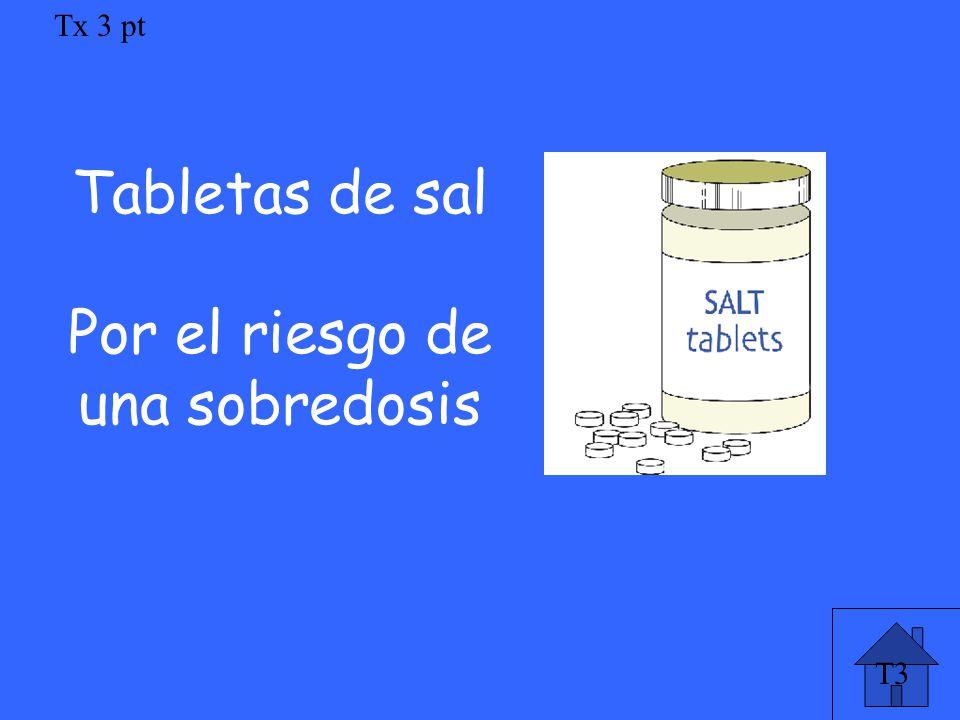 Tx 3 pt Tabletas de sal Por el riesgo de una sobredosis