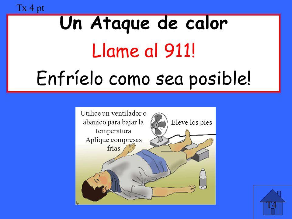T4 Tx 4 pt Un Ataque de calor Llame al 911! Enfríelo como sea posible! Utilice un ventilador o abanico para bajar la temperatura Aplique compresas frí