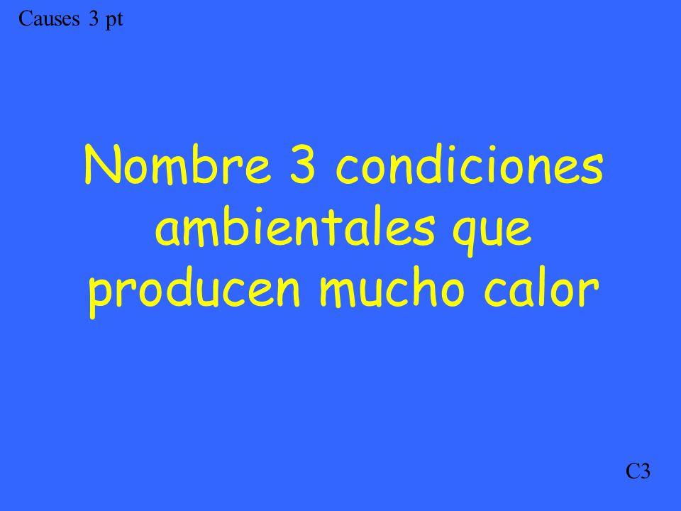 Causes 3 pt C3 Nombre 3 condiciones ambientales que producen mucho calor