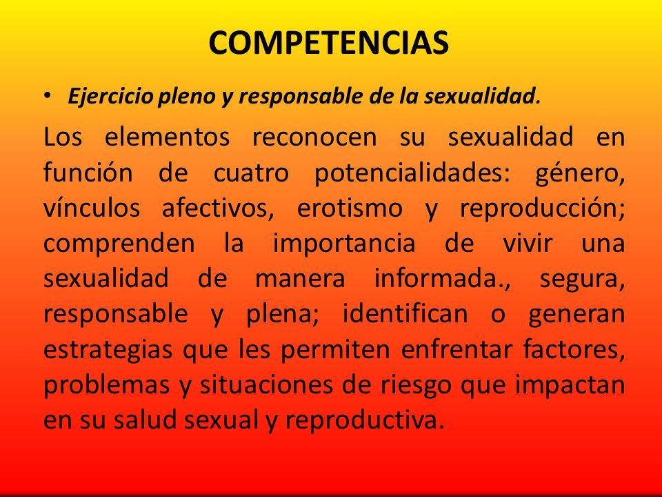 COMPETENCIAS Ejercicio pleno y responsable de la sexualidad. Los elementos reconocen su sexualidad en función de cuatro potencialidades: género, víncu