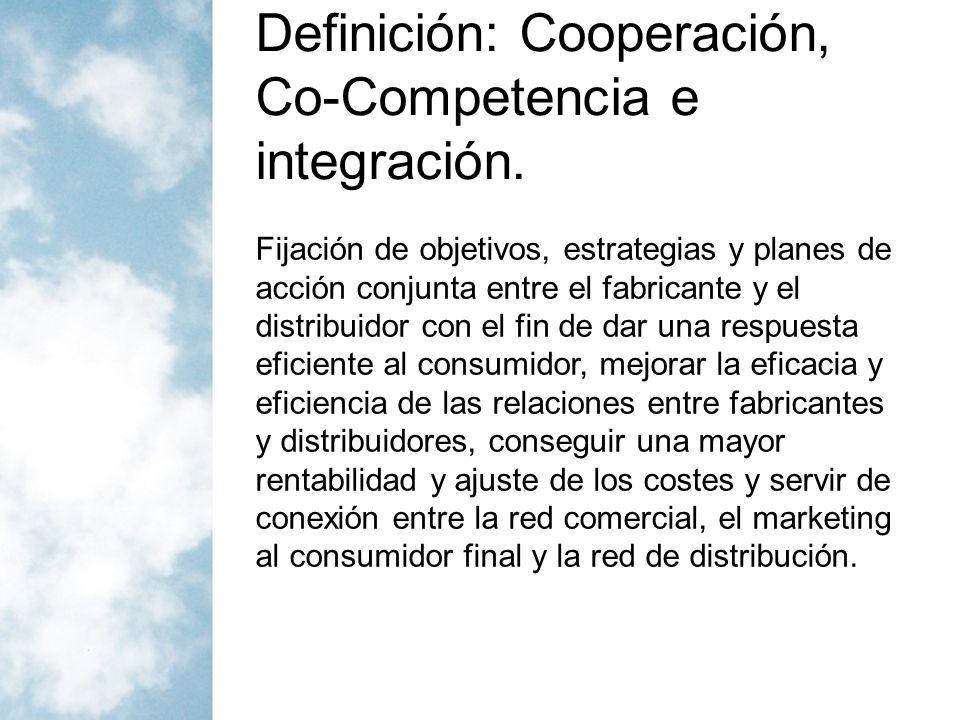 Definición: Cooperación, Co-Competencia, Integración y Adaptación En definitiva se trata de adaptar la estrategia de marketing global a los diferentes canales de distribución.