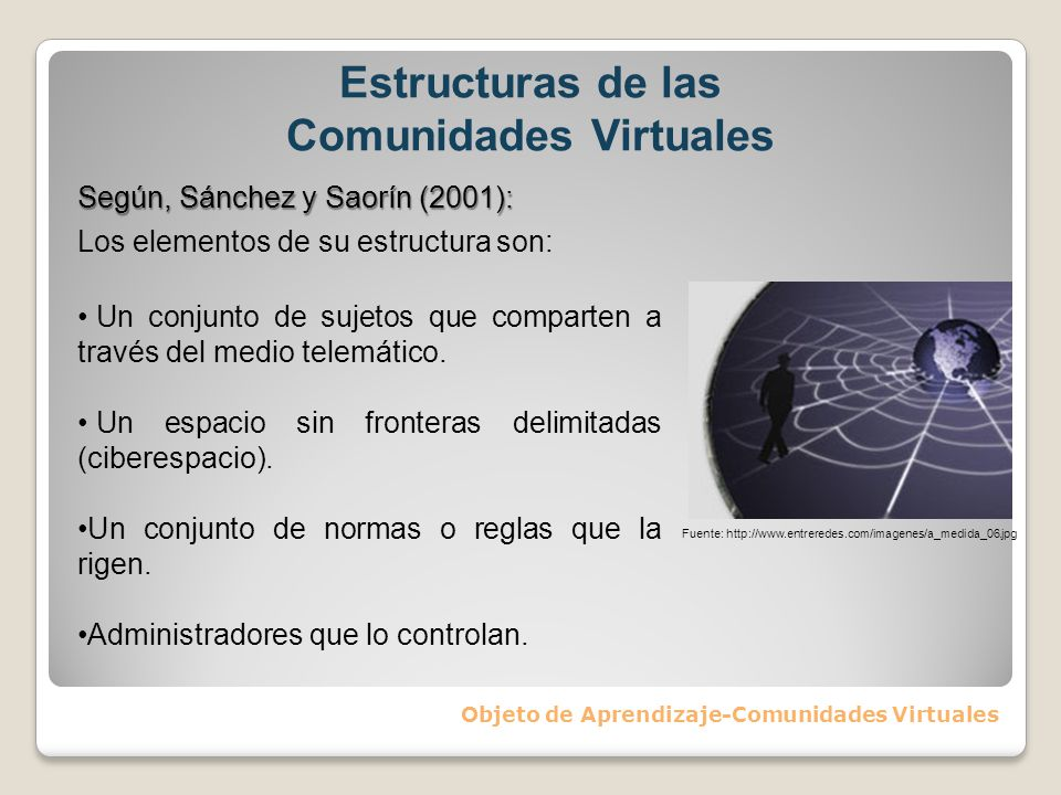 Objeto de Aprendizaje-Comunidades Virtuales Según, Sánchez y Saorín (2001): Los elementos de su estructura son: Un conjunto de sujetos que comparten a