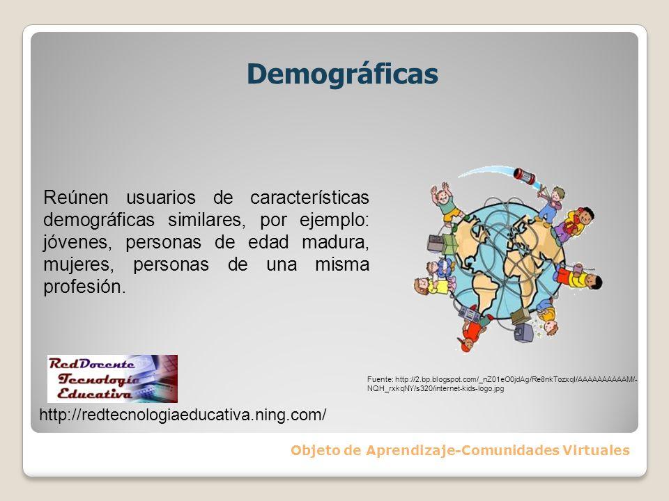 Demográficas Objeto de Aprendizaje-Comunidades Virtuales Reúnen usuarios de características demográficas similares, por ejemplo: jóvenes, personas de