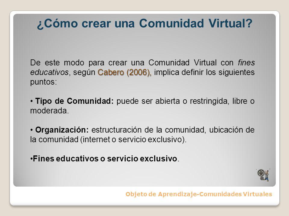 ¿Cómo crear una Comunidad Virtual? Objeto de Aprendizaje-Comunidades Virtuales Cabero (2006), De este modo para crear una Comunidad Virtual con fines