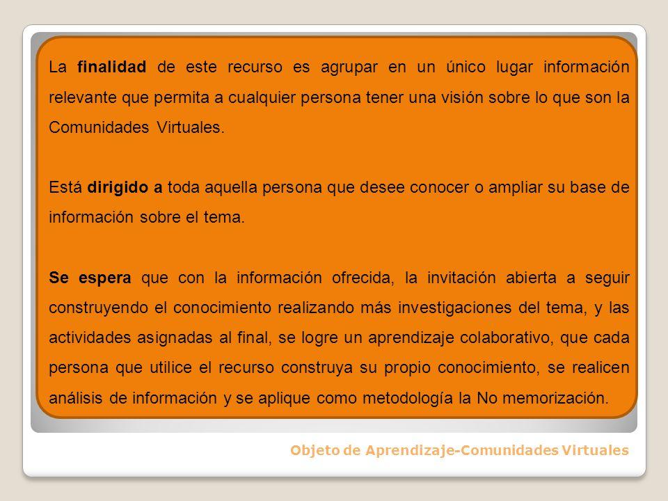 Normas Básicas de Comportamiento en Comunidades Virtuales Objeto de Aprendizaje-Comunidades Virtuales Te invitamos a que visites el blog de Pablo Fernando Sánchez para conocer una interesante recopilación de normas aplicables a los CVblog