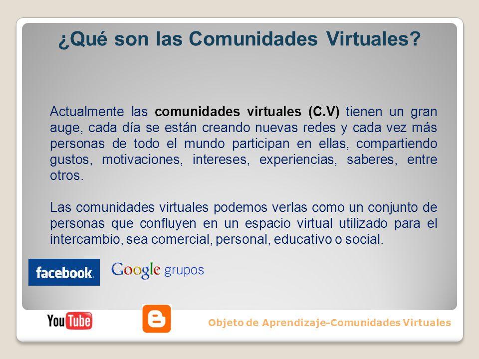 ¿Qué son las Comunidades Virtuales? Objeto de Aprendizaje-Comunidades Virtuales Actualmente las comunidades virtuales (C.V) tienen un gran auge, cada