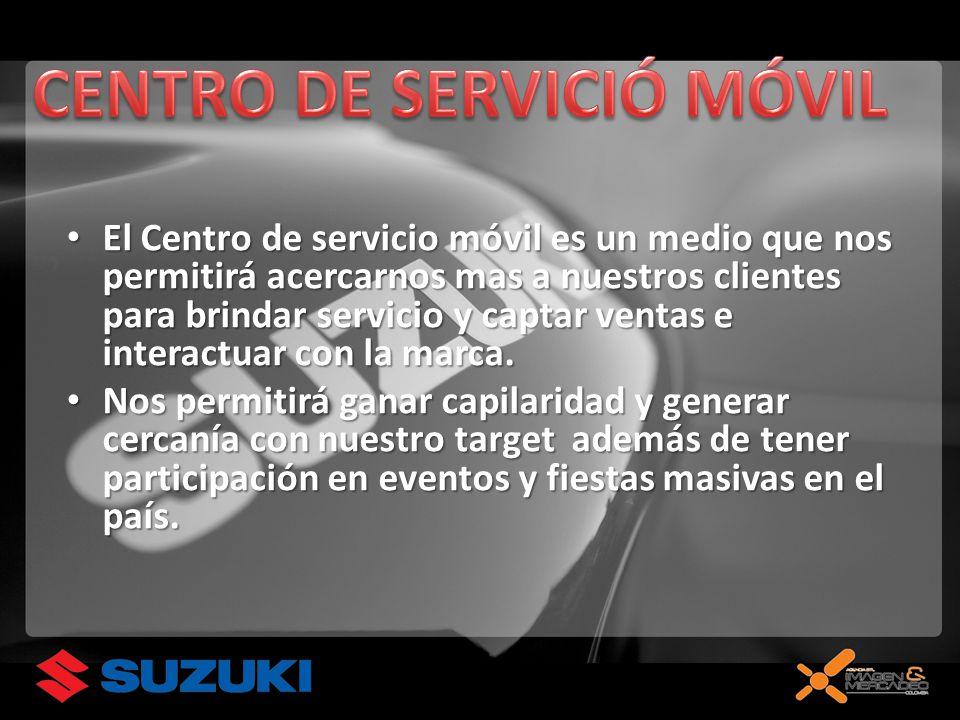 El Centro de servicio móvil es un medio que nos permitirá acercarnos mas a nuestros clientes para brindar servicio y captar ventas e interactuar con la marca.