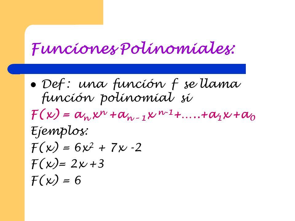 Las funciones Reales: Definición: Se llama función real a toda función DIR, siendo D un subconjunto de IR.