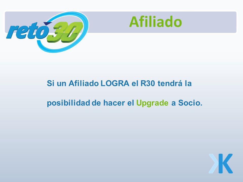 Si un Afiliado LOGRA el R30 tendrá la posibilidad de hacer el Upgrade a Socio.