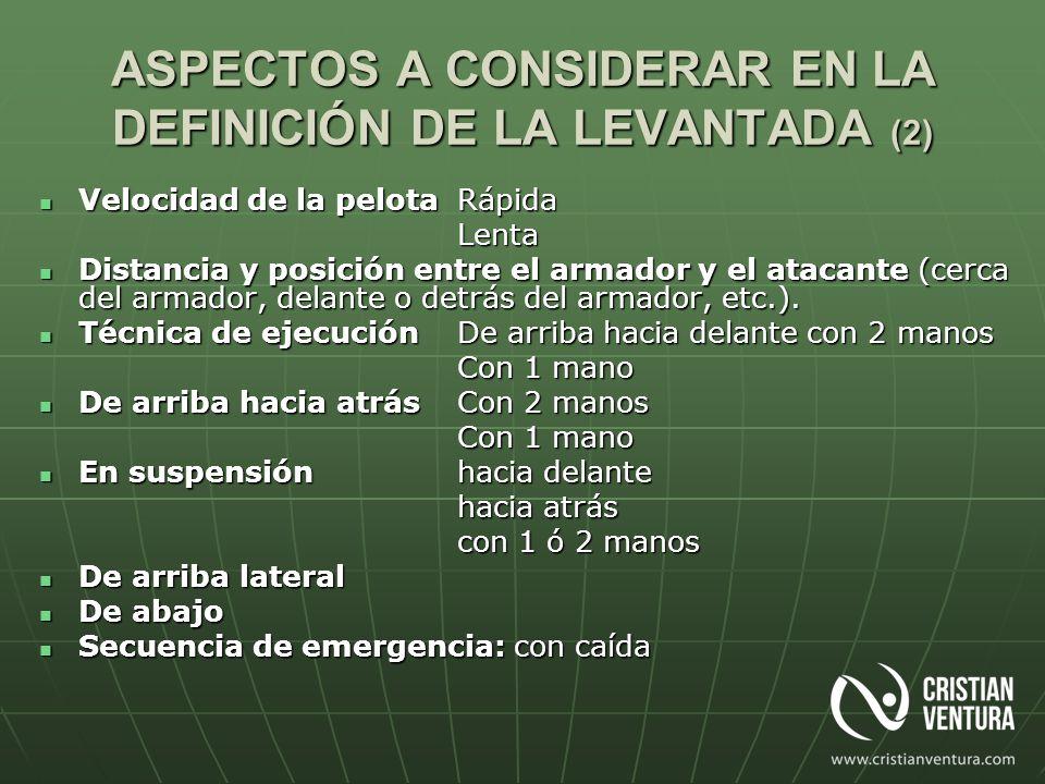 ASPECTOS A CONSIDERAR EN LA DEFINICIÓN DE LA LEVANTADA (2) Velocidad de la pelotaRápida Velocidad de la pelotaRápidaLenta Distancia y posición entre e