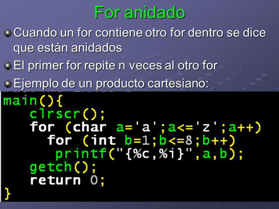 For anidado Cuando un for contiene otro for dentro se dice que están anidados El primer for repite n veces al otro for Ejemplo de un producto cartesia