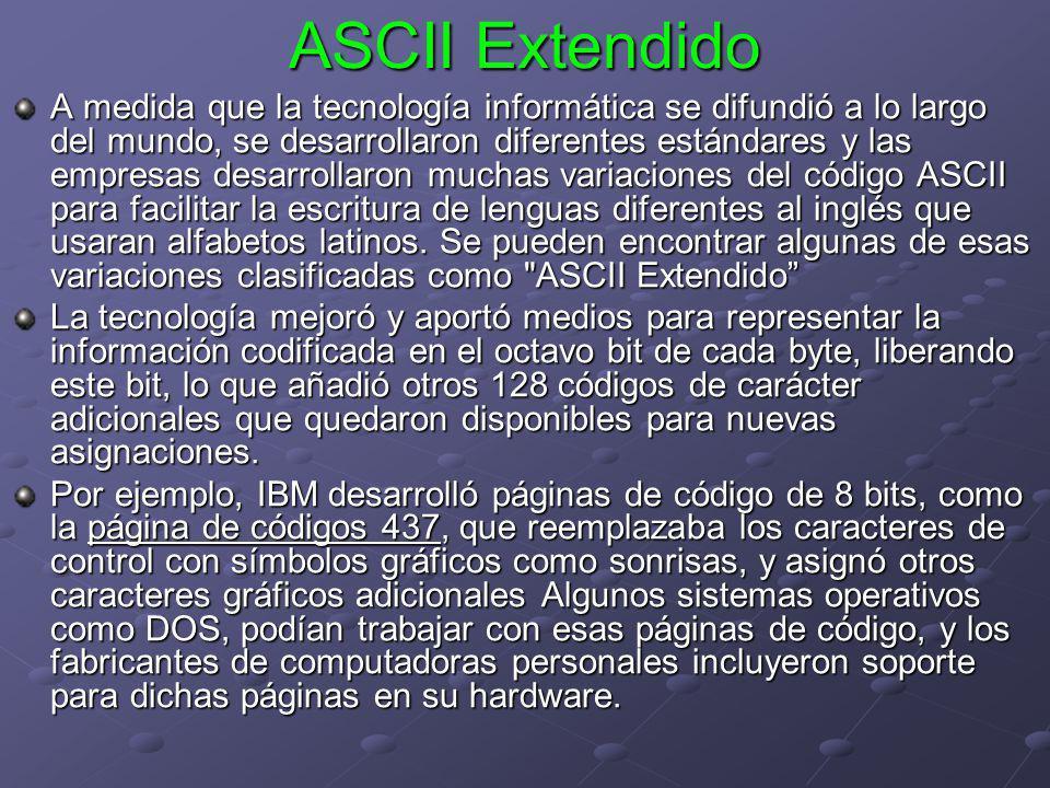 ASCII Extendido A medida que la tecnología informática se difundió a lo largo del mundo, se desarrollaron diferentes estándares y las empresas desarro