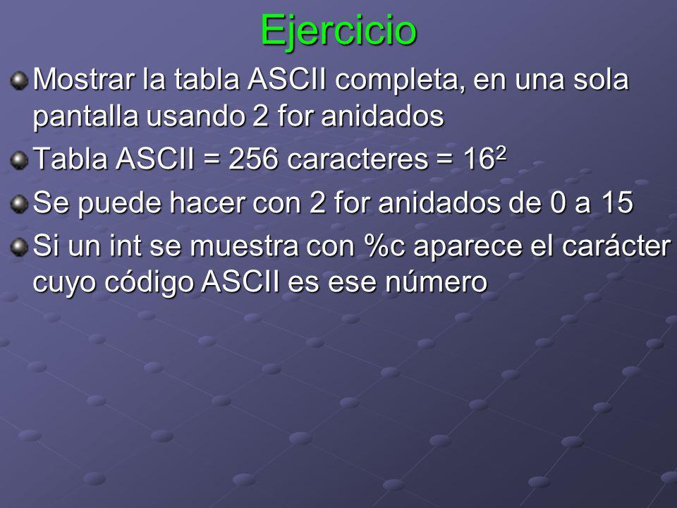 Ejercicio Mostrar la tabla ASCII completa, en una sola pantalla usando 2 for anidados Tabla ASCII = 256 caracteres = 16 2 Se puede hacer con 2 for ani