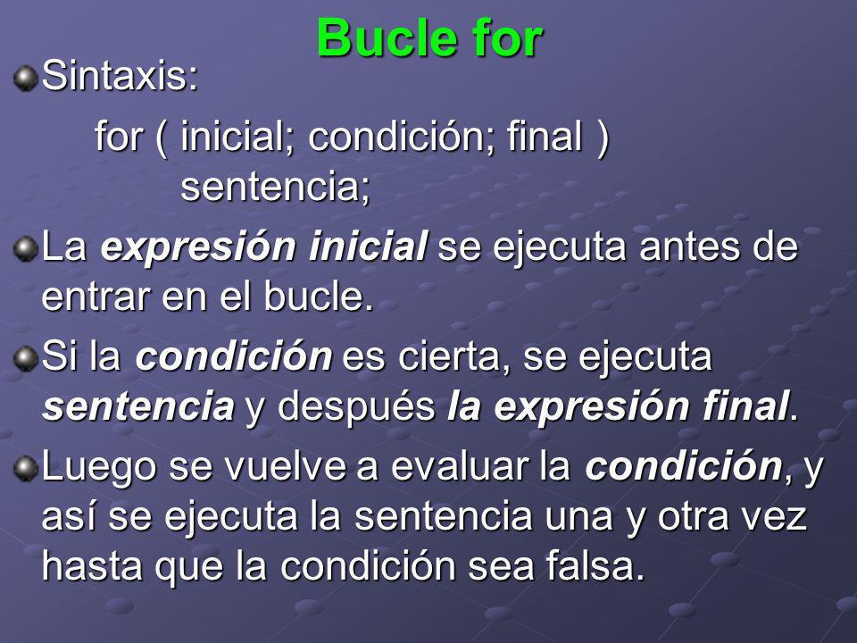 Sintaxis: for ( inicial; condición; final ) sentencia; La expresión inicial se ejecuta antes de entrar en el bucle. Si la condición es cierta, se ejec