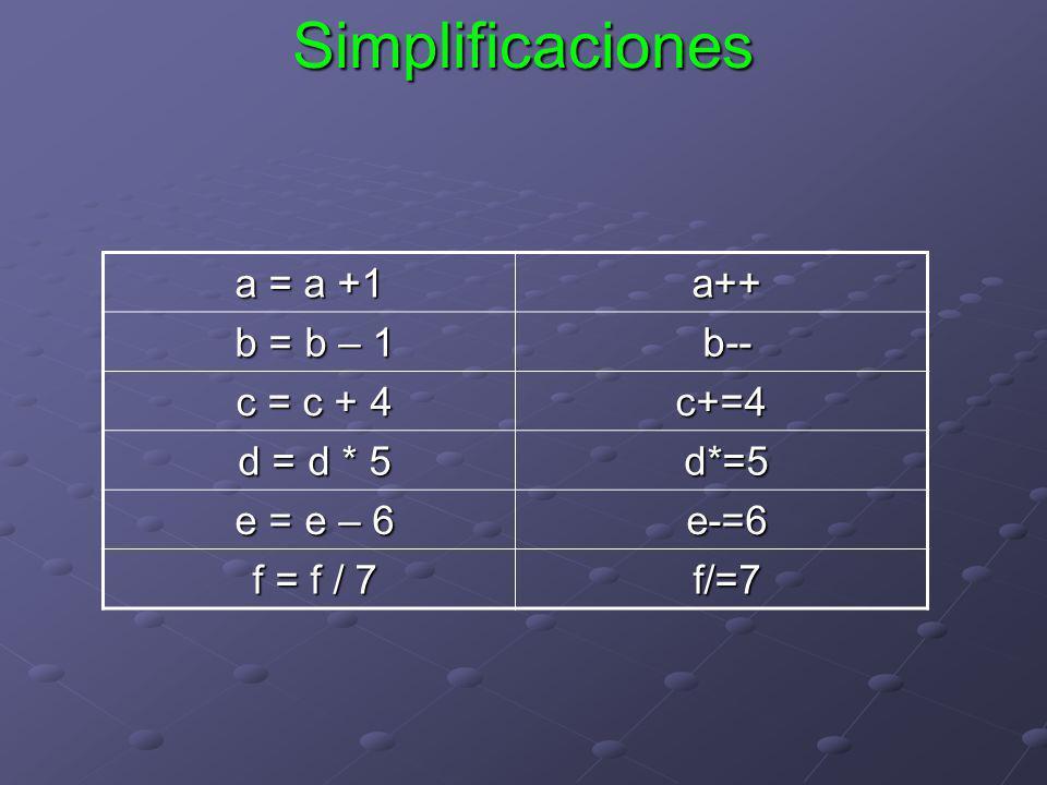 Simplificaciones a = a +1 a++ a++ b = b – 1 b = b – 1 b-- b-- c = c + 4 c = c + 4c+=4 d = d * 5 d = d * 5 d*=5 d*=5 e = e – 6 e = e – 6 e-=6 e-=6 f =