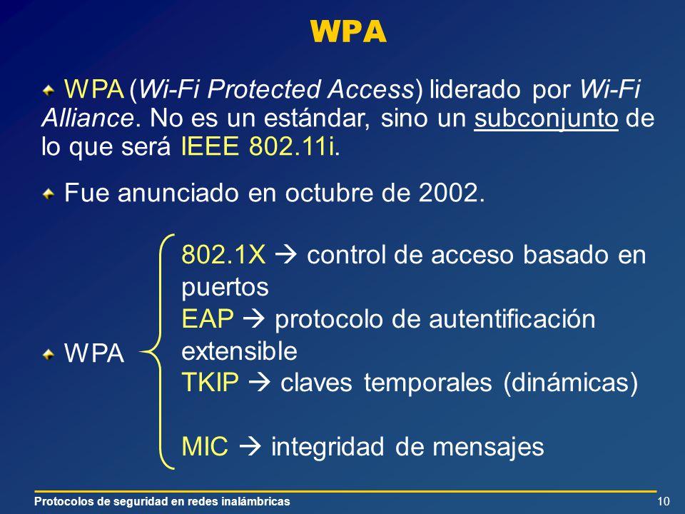Protocolos de seguridad en redes inalámbricas10 WPA WPA (Wi-Fi Protected Access) liderado por Wi-Fi Alliance. No es un estándar, sino un subconjunto d