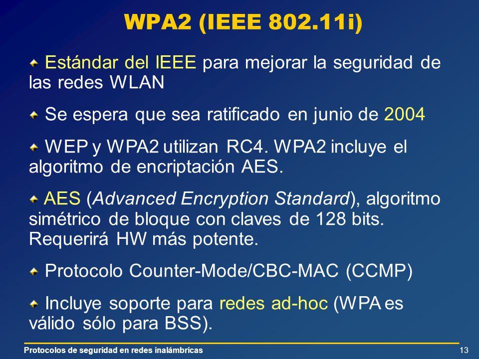 Protocolos de seguridad en redes inalámbricas13 WPA2 (IEEE 802.11i) Estándar del IEEE para mejorar la seguridad de las redes WLAN Se espera que sea ratificado en junio de 2004 WEP y WPA2 utilizan RC4.