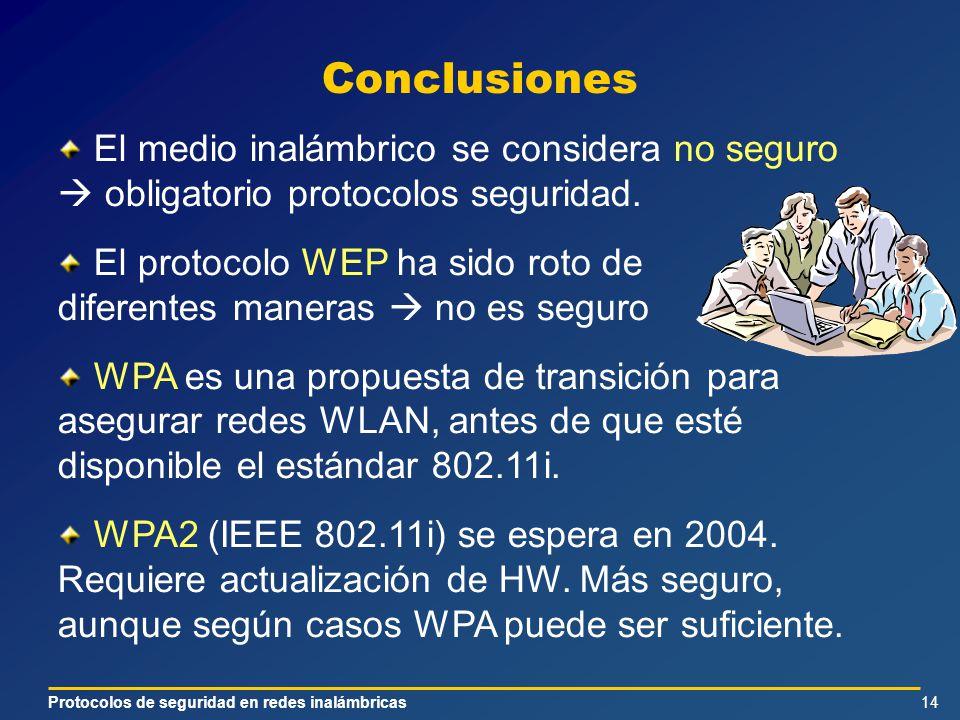 Protocolos de seguridad en redes inalámbricas14 Conclusiones El medio inalámbrico se considera no seguro obligatorio protocolos seguridad.