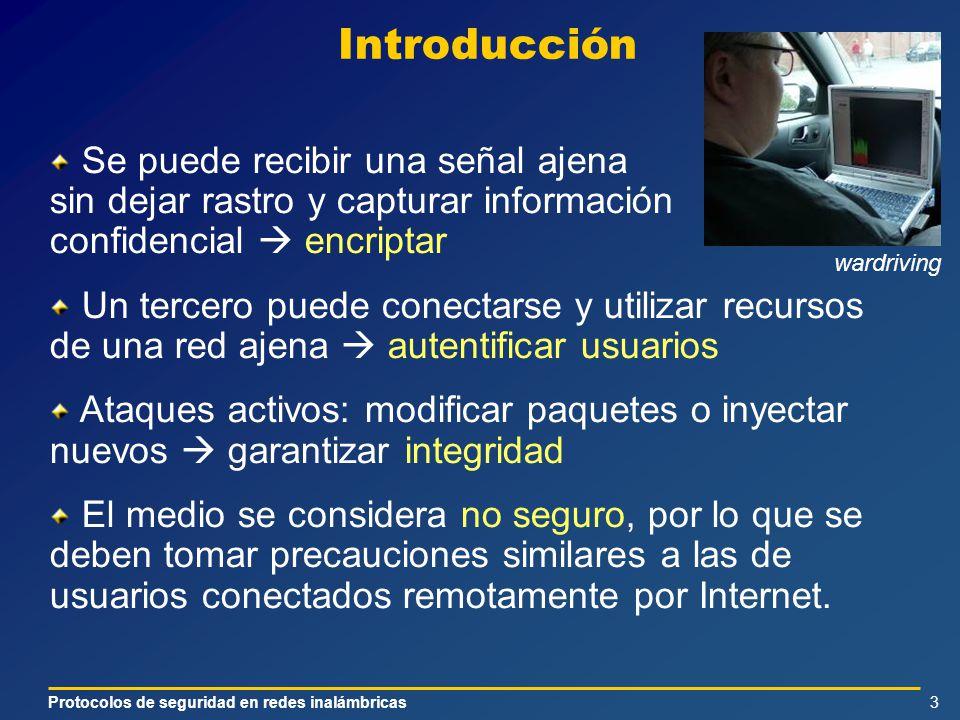 Protocolos de seguridad en redes inalámbricas3 Introducción Se puede recibir una señal ajena sin dejar rastro y capturar información confidencial encr