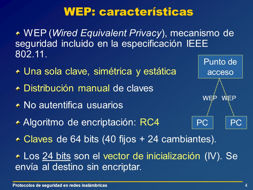 Protocolos de seguridad en redes inalámbricas4 WEP: características WEP (Wired Equivalent Privacy), mecanismo de seguridad incluido en la especificación IEEE 802.11.