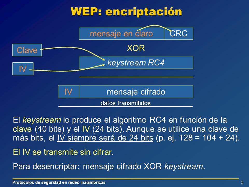 Protocolos de seguridad en redes inalámbricas5 WEP: encriptación El keystream lo produce el algoritmo RC4 en función de la clave (40 bits) y el IV (24 bits).