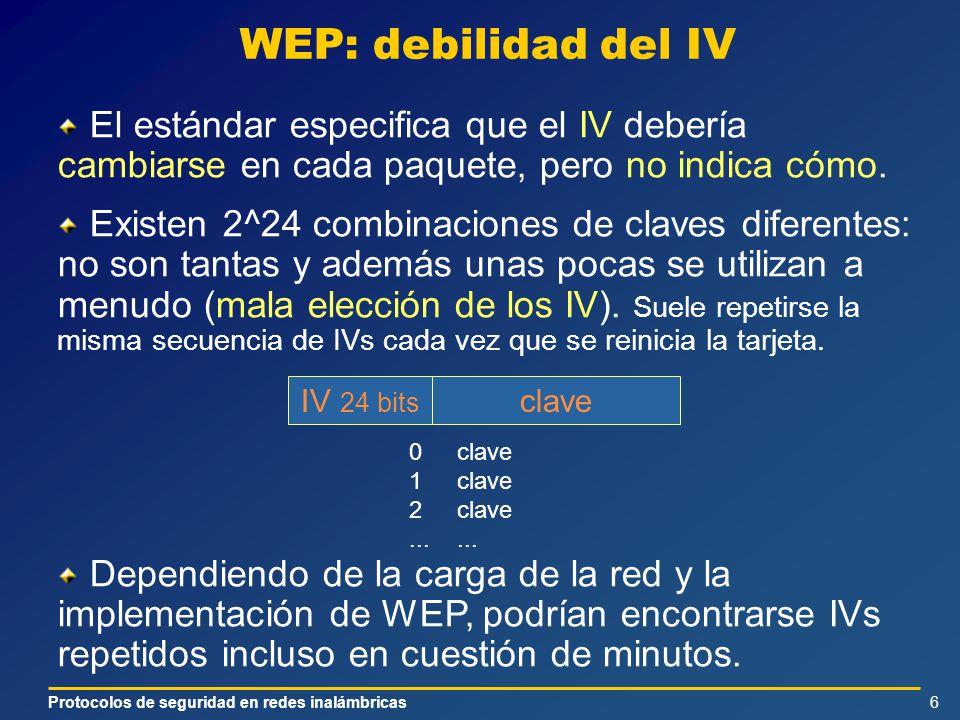 Protocolos de seguridad en redes inalámbricas6 WEP: debilidad del IV El estándar especifica que el IV debería cambiarse en cada paquete, pero no indica cómo.