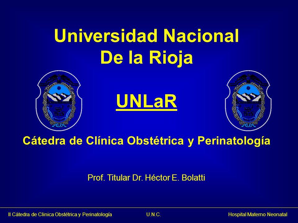 II Cátedra de Clinica Obstétrica y Perinatología U.N.C. Hospital Materno Neonatal Universidad Nacional De la Rioja UNLaR Cátedra de Clínica Obstétrica