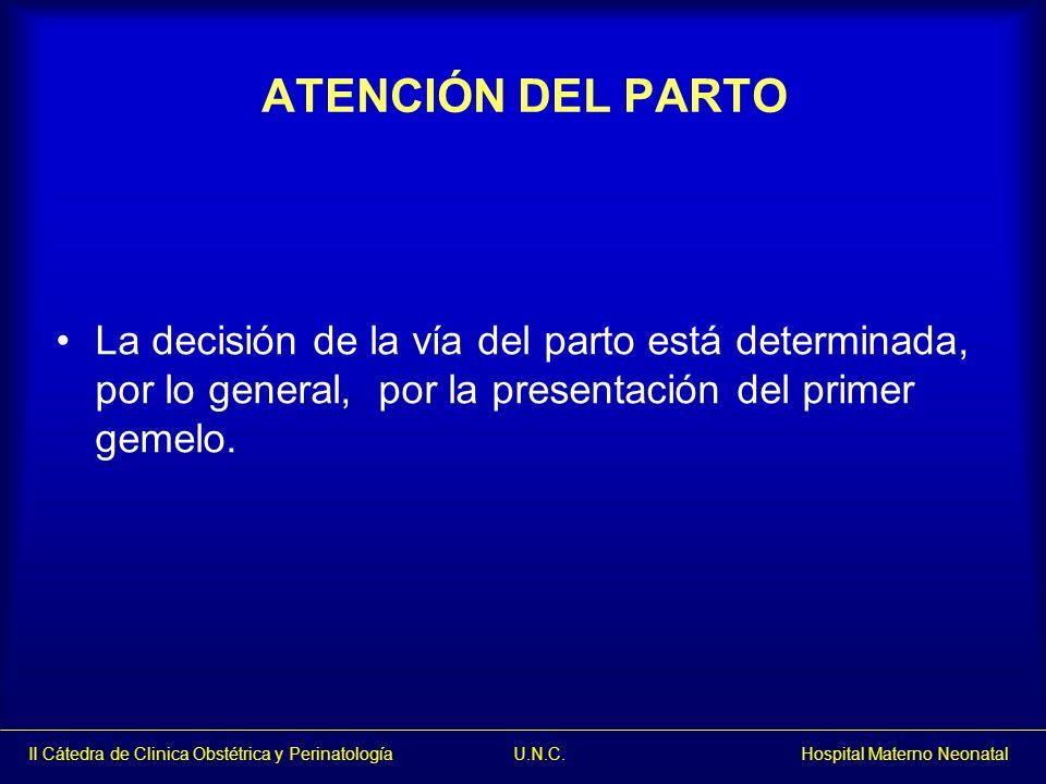 II Cátedra de Clinica Obstétrica y Perinatología U.N.C. Hospital Materno Neonatal ATENCIÓN DEL PARTO La decisión de la vía del parto está determinada,