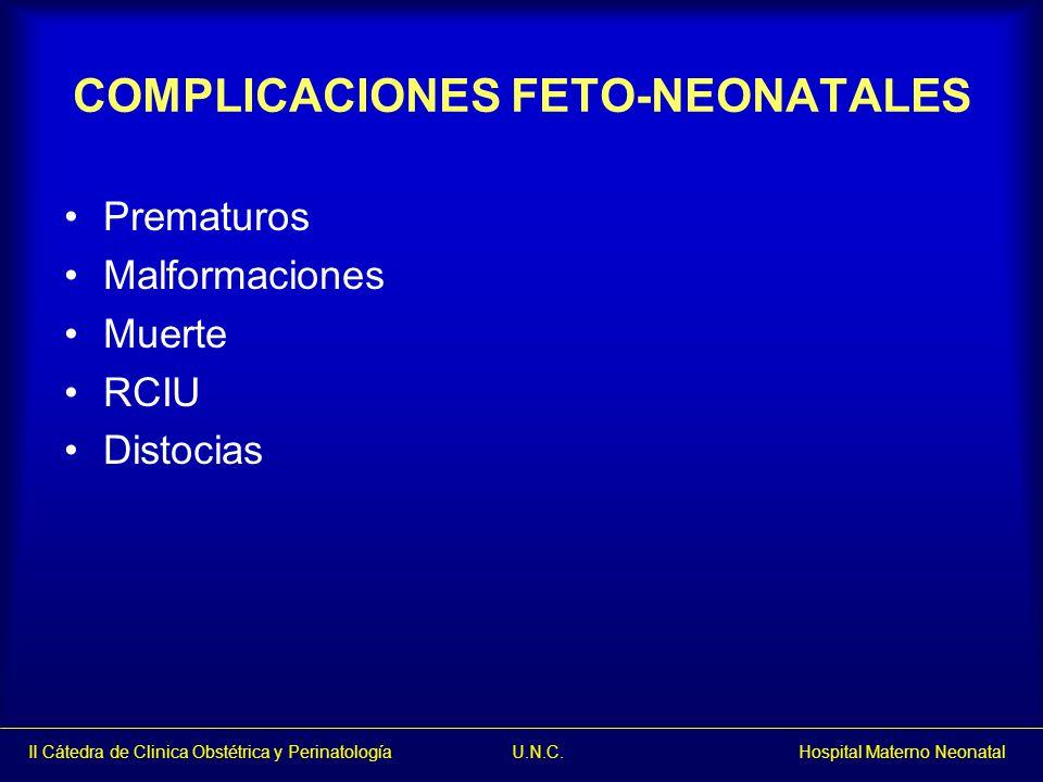 II Cátedra de Clinica Obstétrica y Perinatología U.N.C. Hospital Materno Neonatal COMPLICACIONES FETO-NEONATALES Prematuros Malformaciones Muerte RCIU