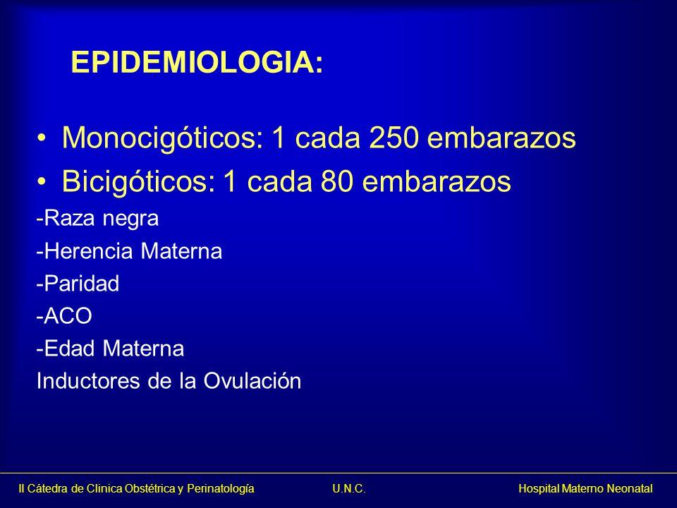 II Cátedra de Clinica Obstétrica y Perinatología U.N.C. Hospital Materno Neonatal EPIDEMIOLOGIA: Monocigóticos: 1 cada 250 embarazos Bicigóticos: 1 ca