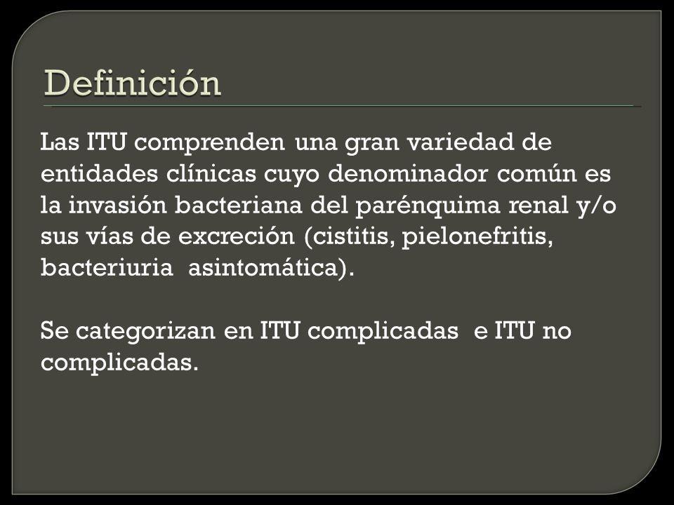 ITU complicadas ITU en paciente sondado El punto de corte para definir bacteriuria significativa en sondado es de >=10 2 UFC/ml.