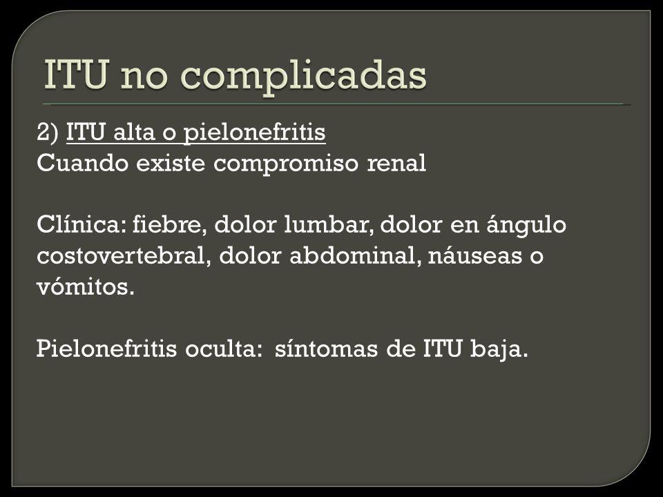 ITU complicadas ITU en paciente con cálculos urinarios No se recomienda la búsqueda sistemática ni el tratamiento de la bateriuria asintomática, sólo se deberá realizar urocultivo previo a litotricia o remoción quirúrgica del cálculo.