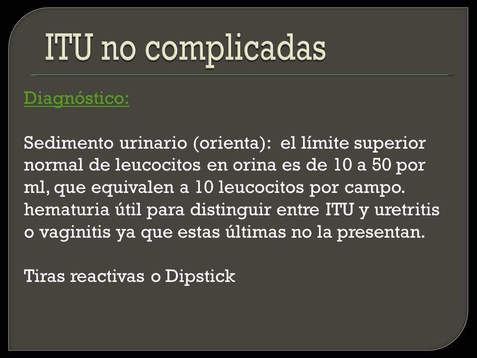 Diagnóstico: Urocultivo (confirma): lo debo tomar cuando sospecho ITU alta o ITU complicada.