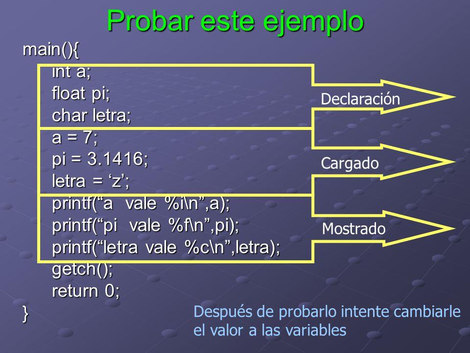 Probar este ejemplo main(){ int a; float pi; char letra; a = 7; pi = 3.1416; letra = z; printf(a vale %i\n,a); printf(pi vale %f\n,pi); printf(letra v