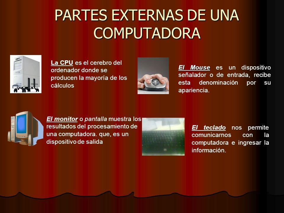 PARTES EXTERNAS DE UNA COMPUTADORA La CPU es el cerebro del ordenador donde se producen la mayoría de los cálculos El Mouse El Mouse es un dispositivo señalador o de entrada, recibe esta denominación por su apariencia.