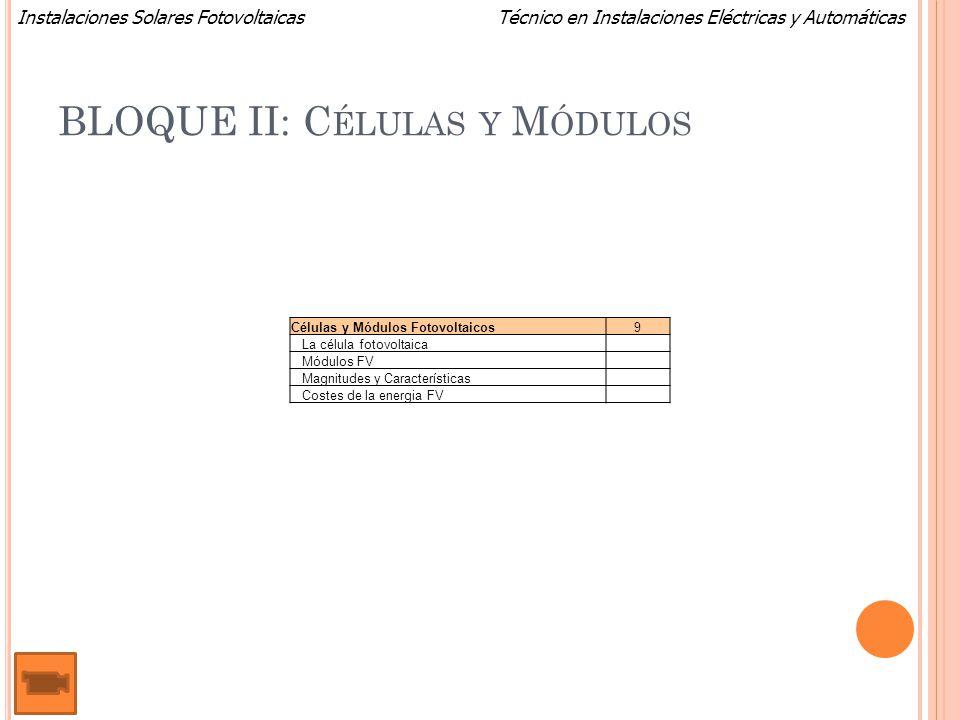 Técnico en Instalaciones Eléctricas y AutomáticasInstalaciones Solares Fotovoltaicas BLOQUE II: C ÉLULAS Y M ÓDULOS Células y Módulos Fotovoltaicos9 L