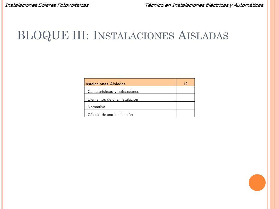 Técnico en Instalaciones Eléctricas y AutomáticasInstalaciones Solares Fotovoltaicas BLOQUE III: I NSTALACIONES A ISLADAS Instalaciones Aisladas12 Car