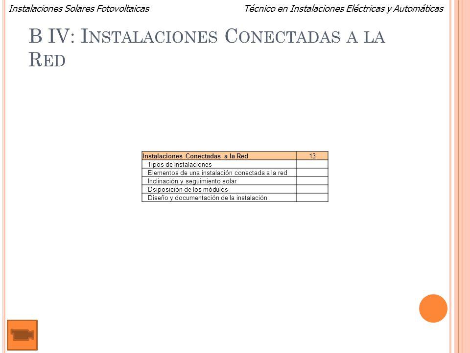 Técnico en Instalaciones Eléctricas y AutomáticasInstalaciones Solares Fotovoltaicas B IV: I NSTALACIONES C ONECTADAS A LA R ED Instalaciones Conectad