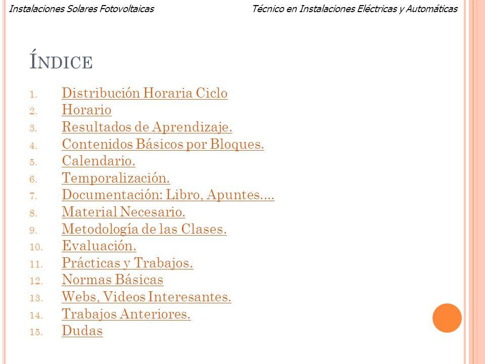 Técnico en Instalaciones Eléctricas y AutomáticasInstalaciones Solares Fotovoltaicas W EBS DE F OTOVOLTAICA (Instalación solar Almería): http://www.psa.es/webesp/instalaciones/receptor.php http://www.psa.es/webesp/instalaciones/receptor.php (Radiación Solar): http://re.jrc.ec.europa.eu/pvgis/apps3/pvest.php#http://re.jrc.ec.europa.eu/pvgis/apps3/pvest.php# Asociación de Productores de Energías Renovables: http://www.appa.es/ (Inst.